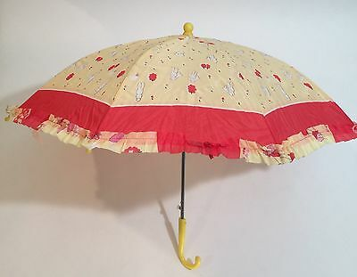 Vintage Kids Umbrella Red Yellow Bunnies Curved Handle NWT