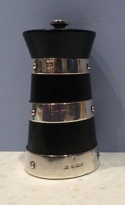 SOLID SILVER & ROSEWOOD PEPPER MILL Birmingham 1907