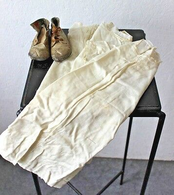 3 VINTAGE 1900's ANTIQUE Silk CHRISTENING GOWNS & Leather Booties