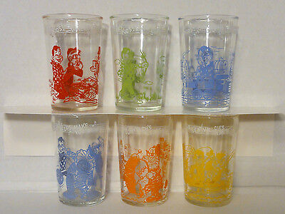 Rare 1953 Howdy Doody Welch's Collectible Jelly Glasses Set Of 6