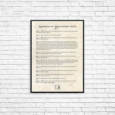 Marquess of Queensberry Boxing Rules A4 Picture Art Retro Style Print