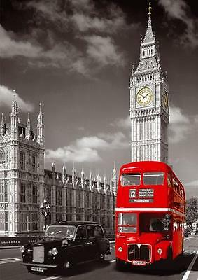 LONDON CITY RED BUS & BIG BEN POSTER Wall Art Photo Print Pic Poster A3 A4