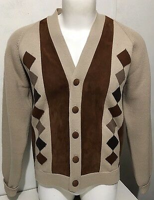 VINTAGE 70's GINO PAOLI ITALY BEIGE WOOL & SUEDE ARGYLE CARDIGAN SWEATER MENS M