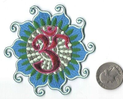 "BLUE OM OHM HINDU LOTUS  IRON-ON / SEW-ON EMBROIDERED PATCH 3 1/4 ""x 3 1/4"""