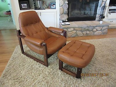 MINT Percival LAFER Lounge CHAIR & OTTOMAN Brazil Rosewood  Leather Mid Century