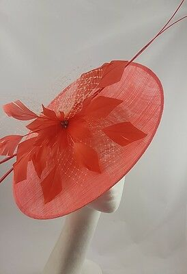 Coral Hat Fascinator Disc Ascot Wedding Mother of the Bride Occasion