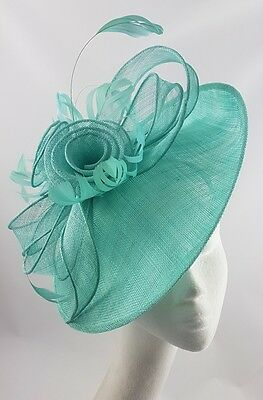 Green Blue Hat Fascinator Disc Ascot Wedding Mother of the Bride Occasion