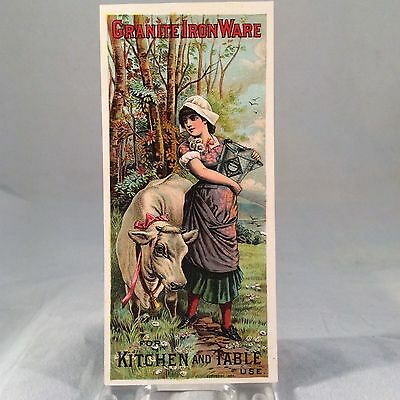 Granite Iron Ware Milkmaid And Cow Victorian Trade Card 1884 Kitchen And Table