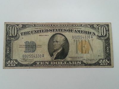 1934-A Wwii $10 Silver Certificate ~ North Africa Note ~ Yellow Seal ~ Vg/f Cond