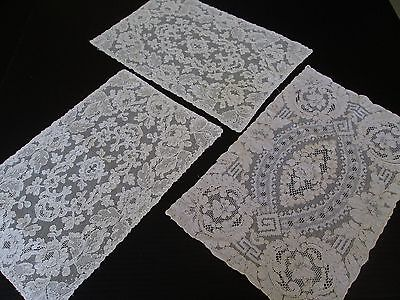 Three Misc Antique/ Vintage  French Alencon Lace Placemats.. Ivory...