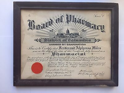 1918 District of Columbia Pharmacist License & Howard University Diploma – Miles