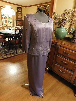 Beautiful Mother Of The Bride Formal Gown Wysteria Purple Charmeuse Size 16