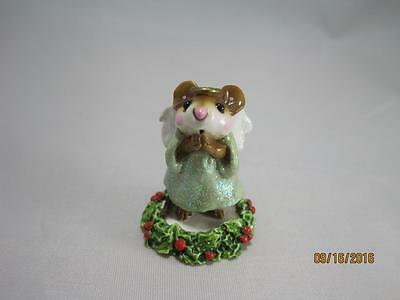 Wee Forest Folk Ice Angel - Green Gown on Holly Base - Retired - in WFF Box