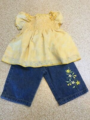 B.t. Kids Baby Infant Girl Size 3-6 Months Yellow Spring Butterfly Denim Outfit