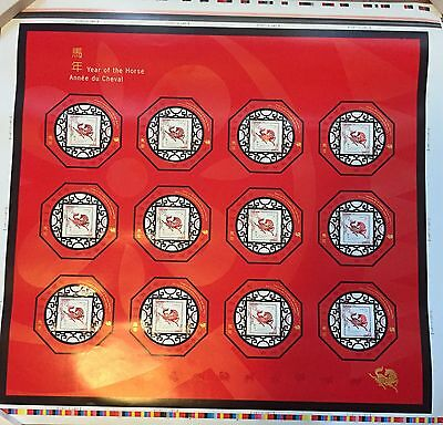 Stamps Canada Lunar Year of the Horse Uncut Press Sheet 2002, MNH