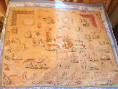 Antique Sampler Densely Embroidered Flowers Houses Africans Birds Beads Angela
