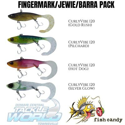 Fish Candy CurlyVibe 120 – Fingermark/Jewie/Barra Pack (4 Lures) BRAND NEW