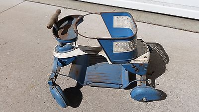 Vintage Taylor Tot Stroller Baby Toy Blue and White Metal with Fenders and Brake