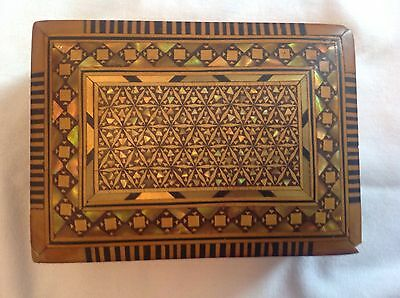 small wooden box with mother of pearl and wood inlay