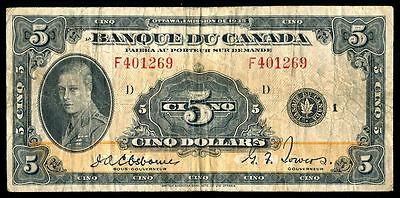 1935 Bank of Canada $5 Bank Note - Fine Condition SN: F401269/D - FRENCH ISSUE