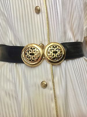 Vintage Dotty Smith Double Round Locking Art Deco Design Gold Belt Signed