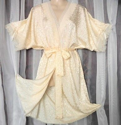 "M.""Lily of France"" Soft shiny,sheer chiffon lace,vintage peignoir,robe,vintage s"