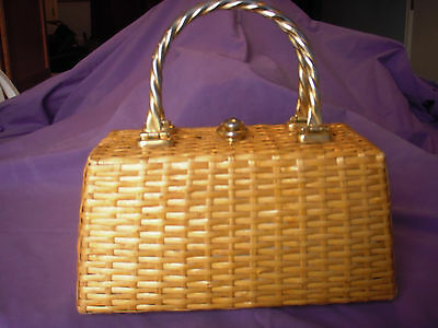 VTG 60s Koret Wicker Woven Straw Rattan Purse Handbag with tag leather lined