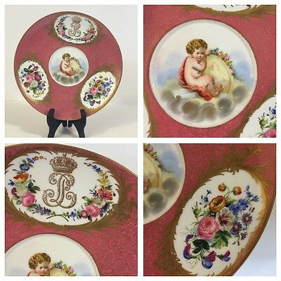 Antique 19th C. Sevres Hand Painted Cherubs Pink Cabinet Plate - Circa 1833