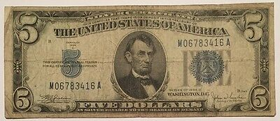 NICE 1934 C Five Dollar $5 Silver Certificate Blue Seal Note !! Wow !!!!!