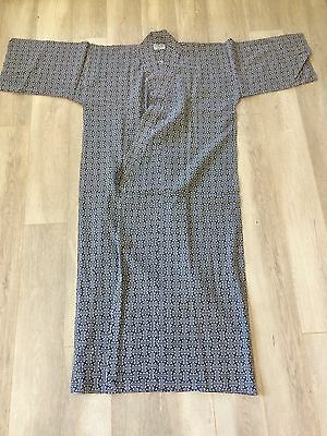 "Japanese Cotton Yukata Kimono Robe Dressing Gown Navy Interlocking Grid  M 52""L"