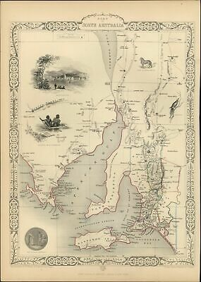 South Australia aborigines dingo Adelaide insets c.1850 antique old Tallis map