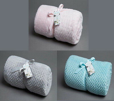 Baby Cot Super Soft Popcorn Fleece Blanket - Pink, Blue or Dove Grey