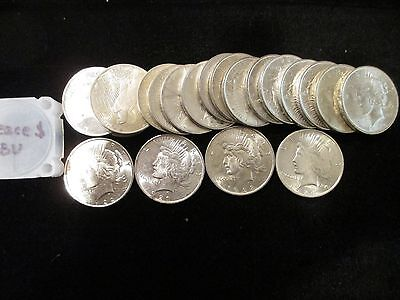 1922 1923 1924 Mixed Date Peace Dollar 20-Coin Roll CH BU