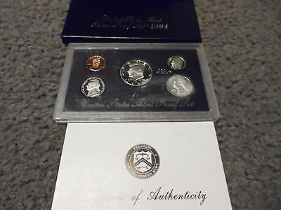 1994-S U. S. Mint Silver Proof 5 Coin Set With Coa