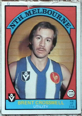 Scanlens VFL AFL Football Cards 1978 #48 North Melbourne Brent Crosswell