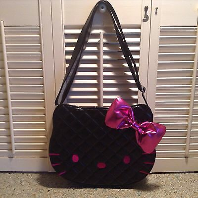 Loungefly Sanrio Hello Kitty Black Leather Look Purse Pink Bow Unused