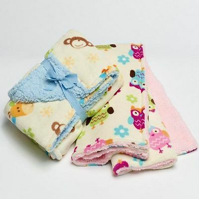 Baby Coral Fleece Super Soft Cot Blankets - Pink Owl or Blue Jungle Animal