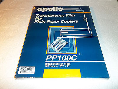 APOLLO ~ PP100C ~ Overhead Transparency Film for Plain Paper Copiers ~ NEW 100