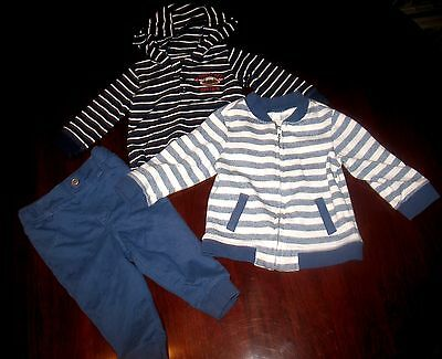 Carter's Baby Boy Blue, Off White  Long Sleeve & Pants Set Outfit