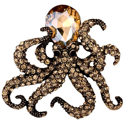 Octopus brooch pin antique gold silver plated bling jewelry QBA16 gift for women