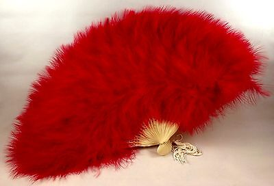 Bright Red Marabou Hand Fan Fluffy Folding Opens Closes about 11 Inches