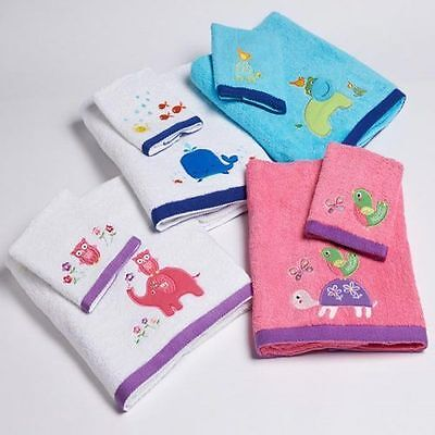 Baby Embroidered Bath Towel & Washer Sets - 4 Designs - Soft 100% Cotton