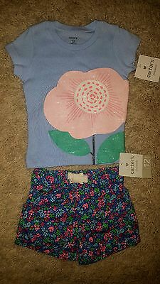 CARTER'S girls 2 piece cotton outfit, SPRING/FLORAL, NWT. SZ 12 mo, ADORABLE!