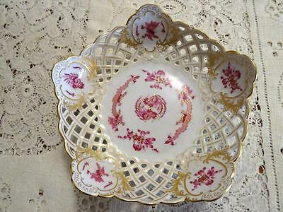 Meissen Court Dragon Raspberry Pierced Bowl Perfect 5 Lobed