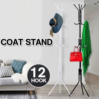 Coat Hat Bag Clothes Umbrella Steel Pipe Stand Rack Hanger 12 Hooks Tree Style