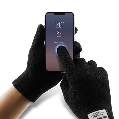Men Gloves Touch Screen Winter Warm Practical Kintted Black Smartphone Gloves