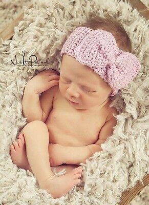 Baby Hand Crochet Knitted Bow Headband/Hat Photo Prop Girl Pink Newborn - 12M