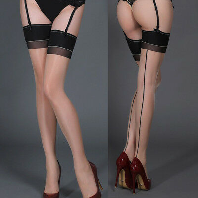 Women's Shiny Hold Ups Stockings Thigh Highs Line in Back