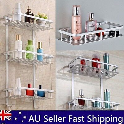 Alumimum 2/3 Tier Bathroom Shower Storage Shelf Caddy Basket Tidy Organiser Rack