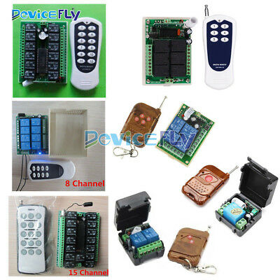 DC 12V 1/2/4//6/8/12/15 Channel Wireless RF Remote Control Transmitter+ Receiver